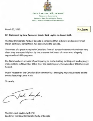 Letter by Jack Layton
