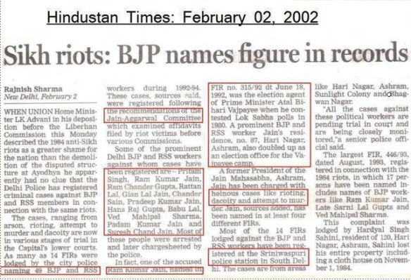Role of BJP in 1984