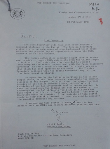 Letter in reponse by UK to India