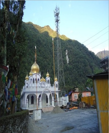 Sikkim-A Tower is erected in gurudwara complex