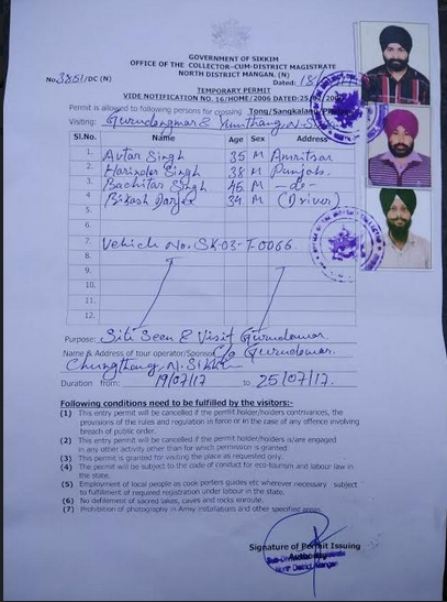 Pass issued by DC Mangan Sikkim